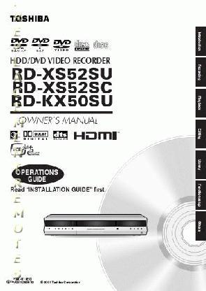 TOSHIBA RDXS52OM Operating Manual