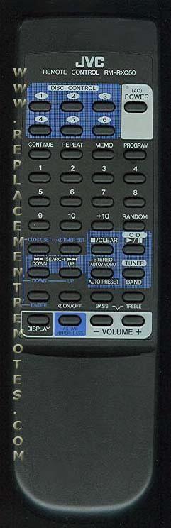 JVC RMRXC50 Audio System Remote Control