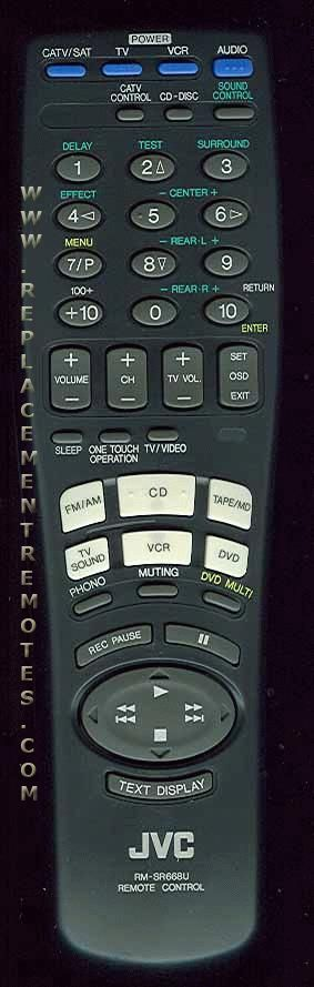 JVC RMSR668U Audio/Video Receiver Remote Control