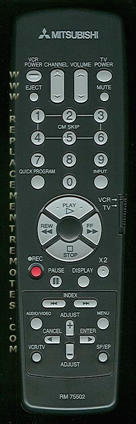 MITSUBISHI RM75502 VCR Remote Control