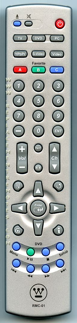 Westinghouse RMC01 TV/DVD Combo Remote Control