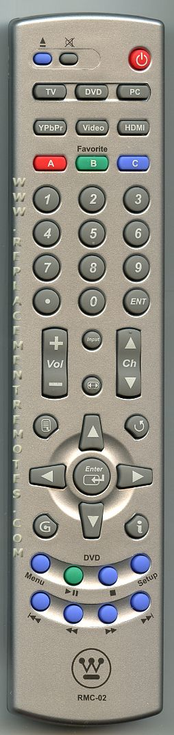 Westinghouse RMC02 TV/DVD Combo Remote Control