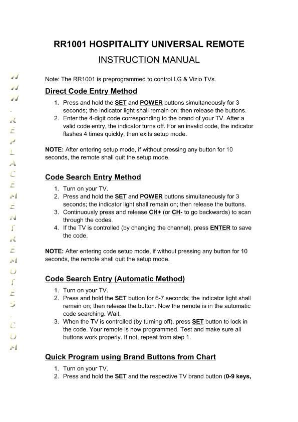 vizio tv codes. notice: the anderic-hospitality rr1001om operating manual is available as free download. vizio tv codes