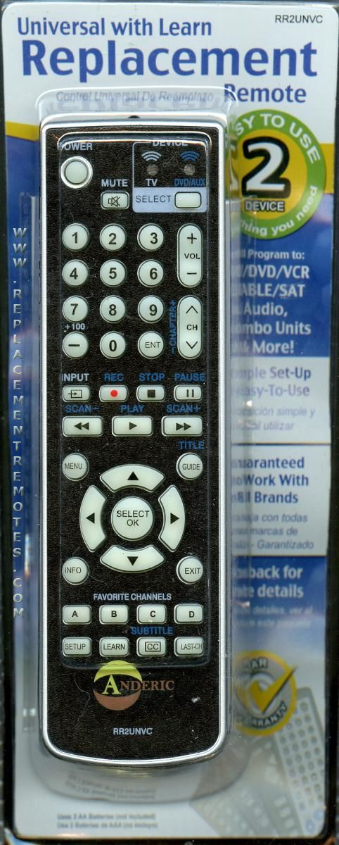 ANDERIC RR2UNVC 2-Device Universal Remote Control