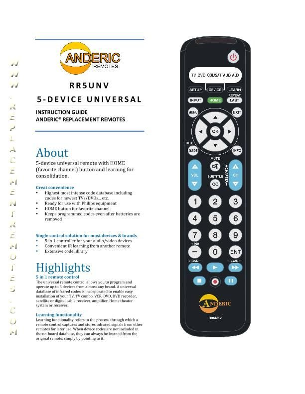 Download Free Anderic Rr5unvom Rr5unv User Guide Operating