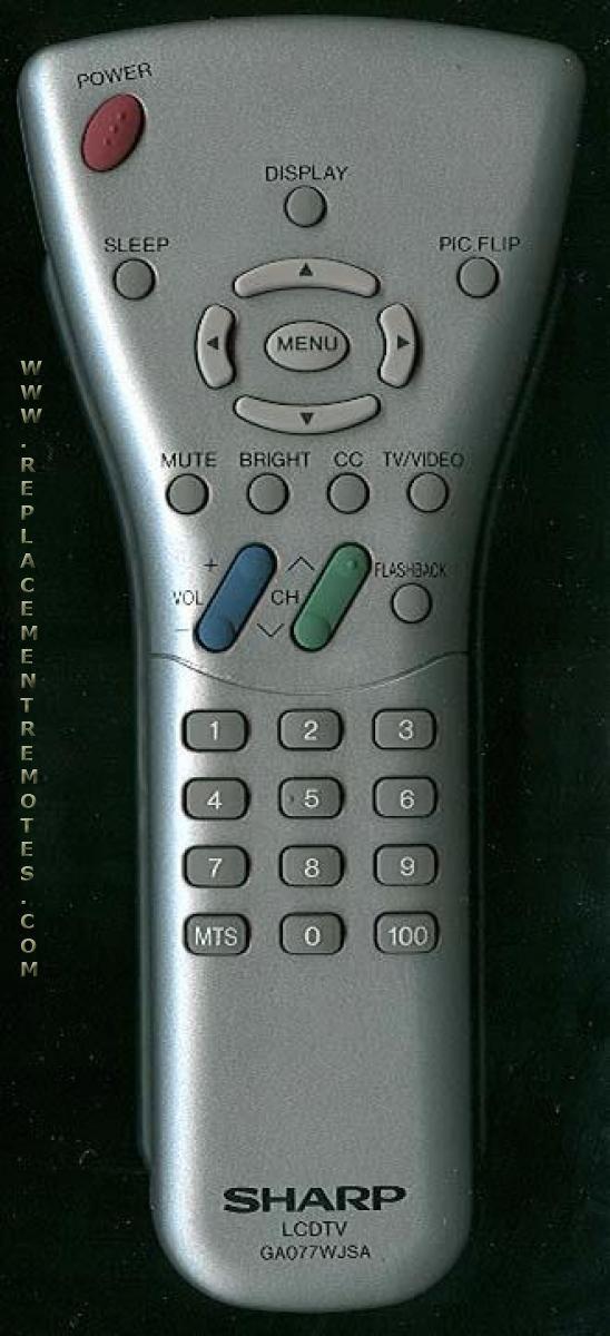 SHARP GA077WJSA TV Remote Control