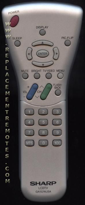 SHARP GA152WJSA TV Remote Control