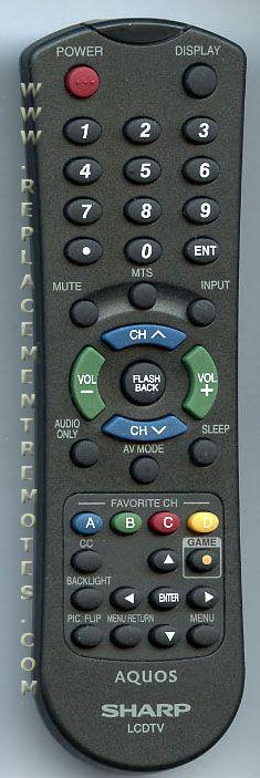 SHARP RRMCGA546WJSA TV Remote Control