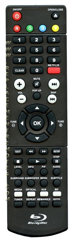 RCA RTB1016WE Blu-Ray DVD Player Remote Control