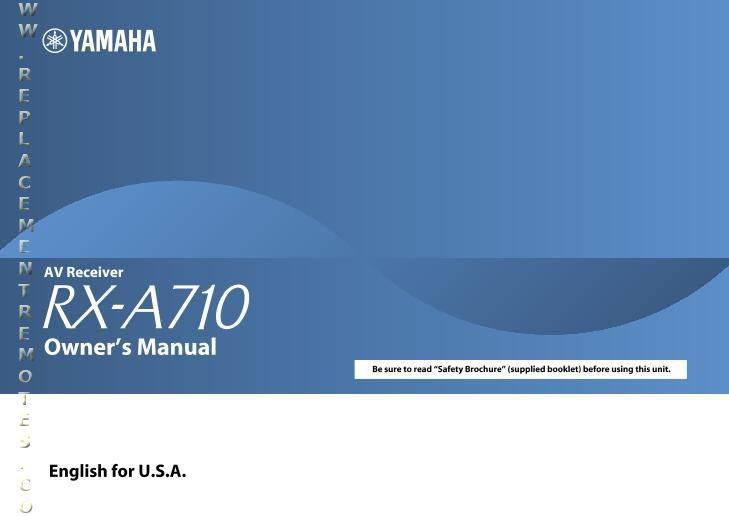 YAMAHA RXA710OM Operating Manual