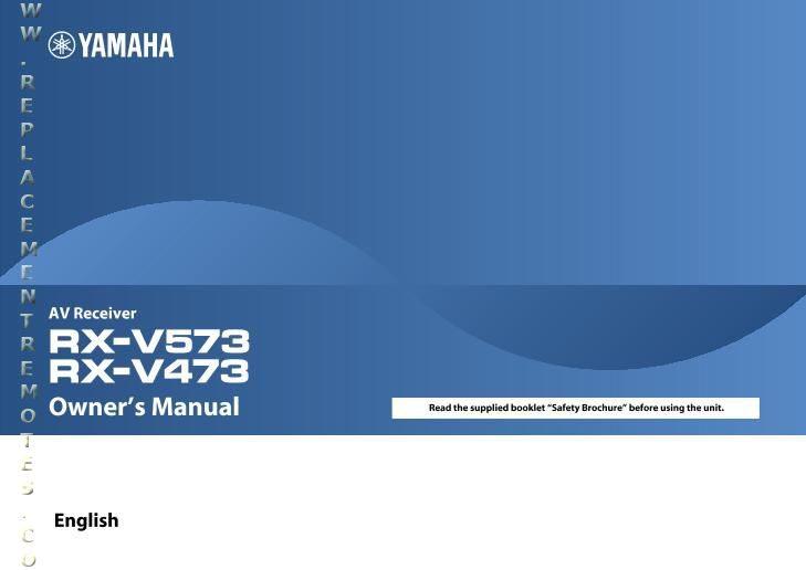 YAMAHA RXV473OM Operating Manual