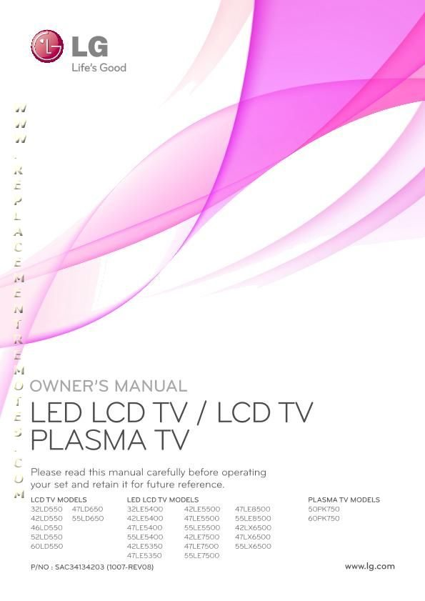 LG 32LD550UBOM Operating Manual