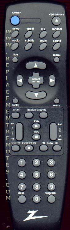 ZENITH SC220Z DVD Player Remote Control