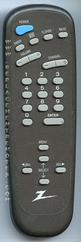 ZENITH SC3492Z TV Remote Control