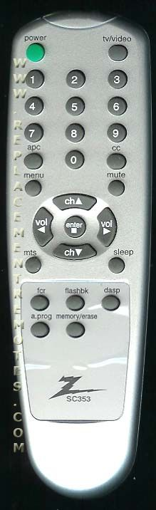 ZENITH SC353 Remote Control