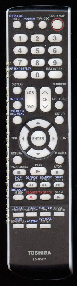 TOSHIBA SDR0227 Remote Control