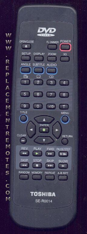 TOSHIBA SER0014 DVD Player Remote Control