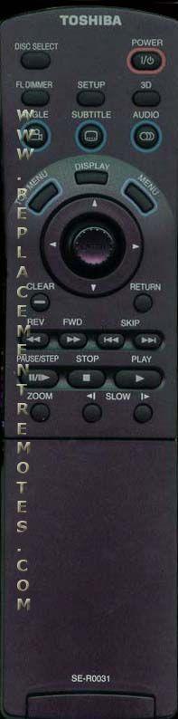 TOSHIBA SER0031 DVD Player Remote Control