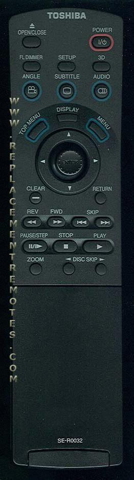 TOSHIBA SER0032 DVD Player Remote Control