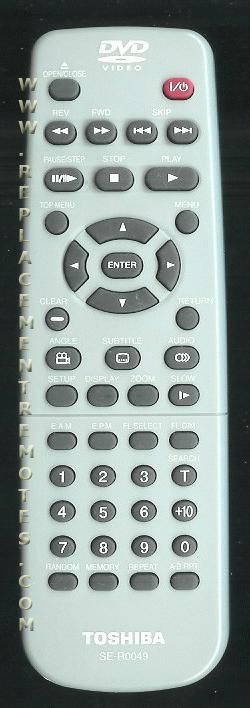 TOSHIBA SER0049 DVD Player Remote Control