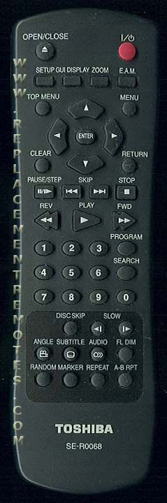 TOSHIBA SER0068 DVD Player Remote Control