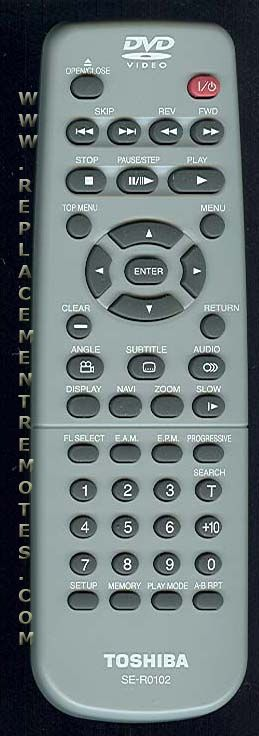 TOSHIBA SER0102 DVD Player Remote Control