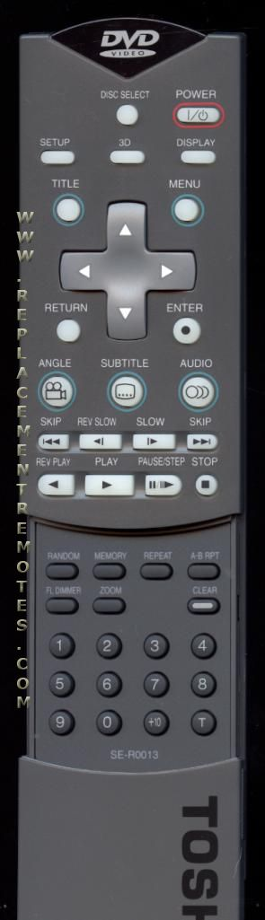 TOSHIBA SER0013 DVD Player Remote Control