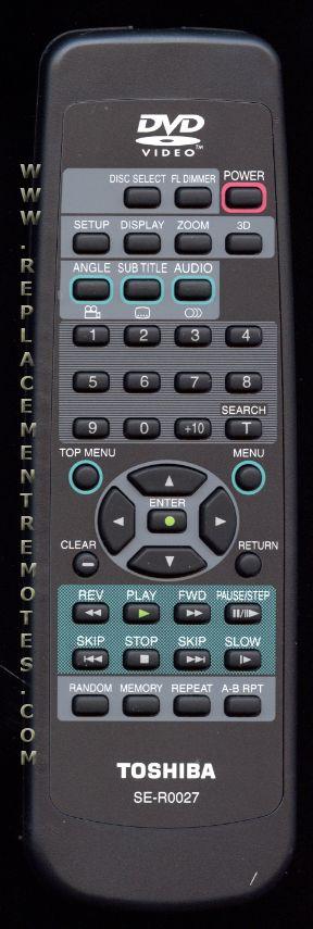 TOSHIBA SER0027 DVD Player Remote Control