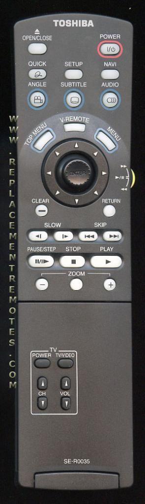 TOSHIBA SER0035 TV/DVD Combo Remote Control