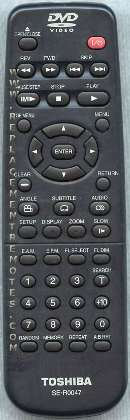 TOSHIBA SER0047 DVD Player Remote Control