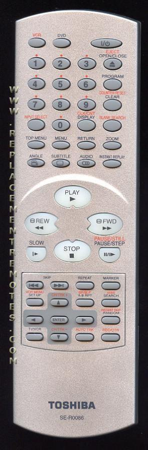 TOSHIBA SER0086 DVD/VCR Combo Player Remote Control