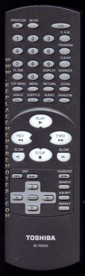 TOSHIBA SER0093 DVD Player Remote Control