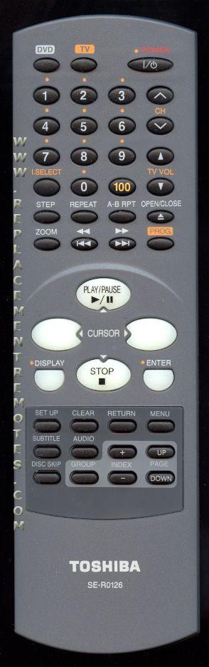 TOSHIBA SER0126 DVD Player Remote Control