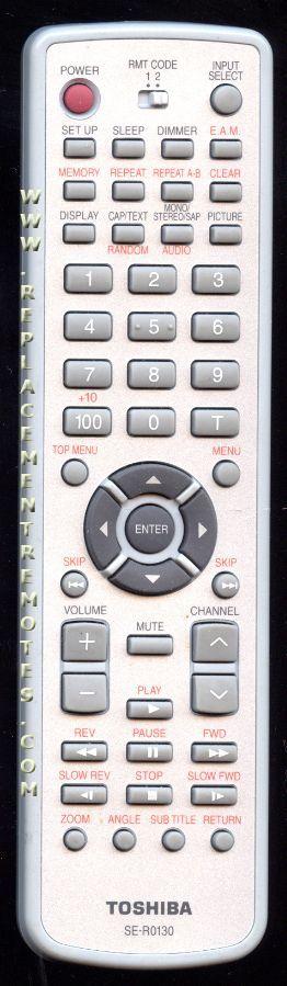 TOSHIBA SER0130 TV/DVD Combo Remote Control