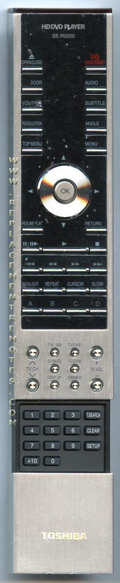 TOSHIBA SER0200 DVD Player Remote Control