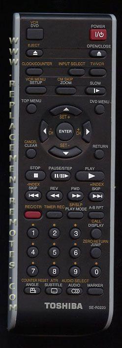 TOSHIBA SER0220 DVD/VCR Combo Player Remote Control