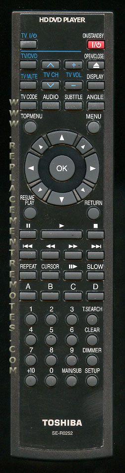 TOSHIBA SER0252 DVD Player Remote Control