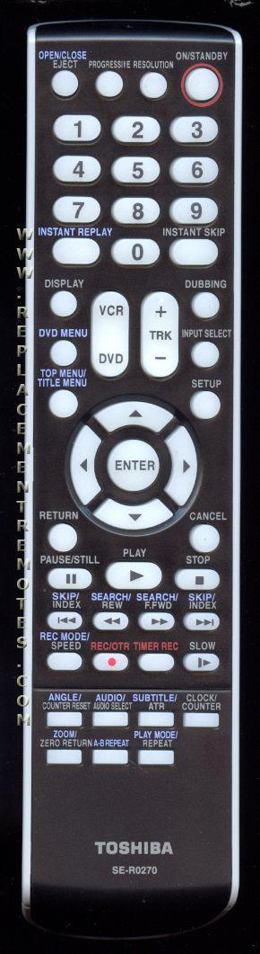 TOSHIBA SER0270 DVD/VCR Combo Player Remote Control