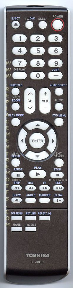 TOSHIBA SER0305 TV/DVD Combo Remote Control