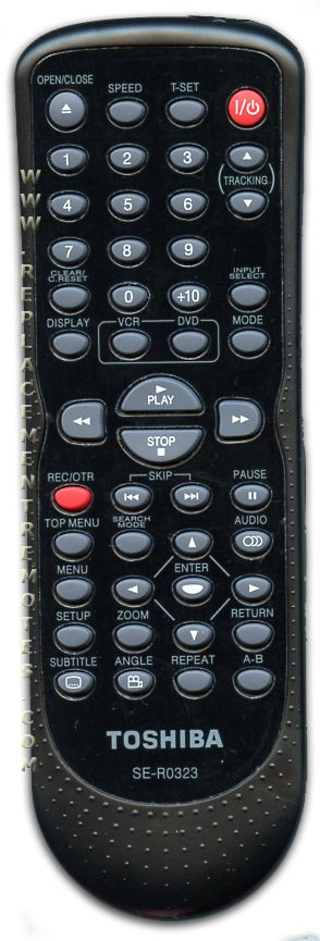 TOSHIBA SER0323 DVD/VCR Combo Player Remote Control