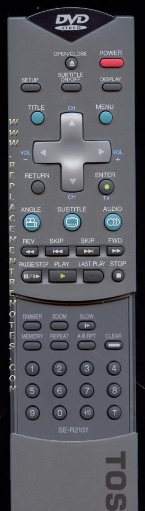 TOSHIBA SER2107 DVD Player Remote Control