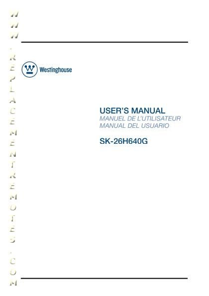Westinghouse SK26H640GOM Operating Manual