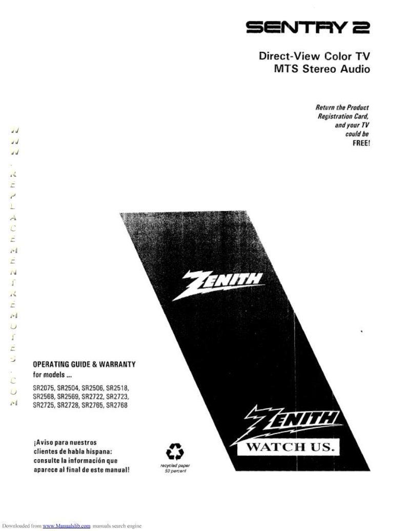 ZENITH SR2568SOM Operating Manual