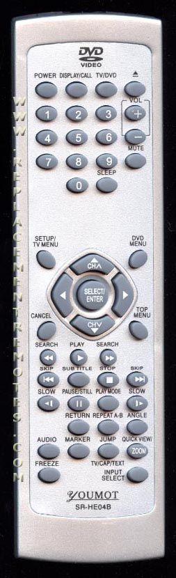 YOUMOT SRHE04B TV/DVD Combo Remote Control