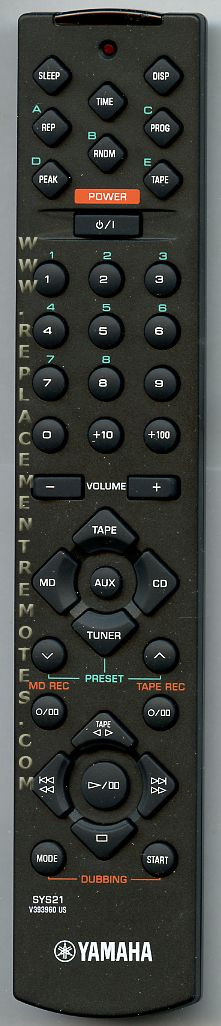 YAMAHA SYS21 Audio/Video Receiver Remote Control