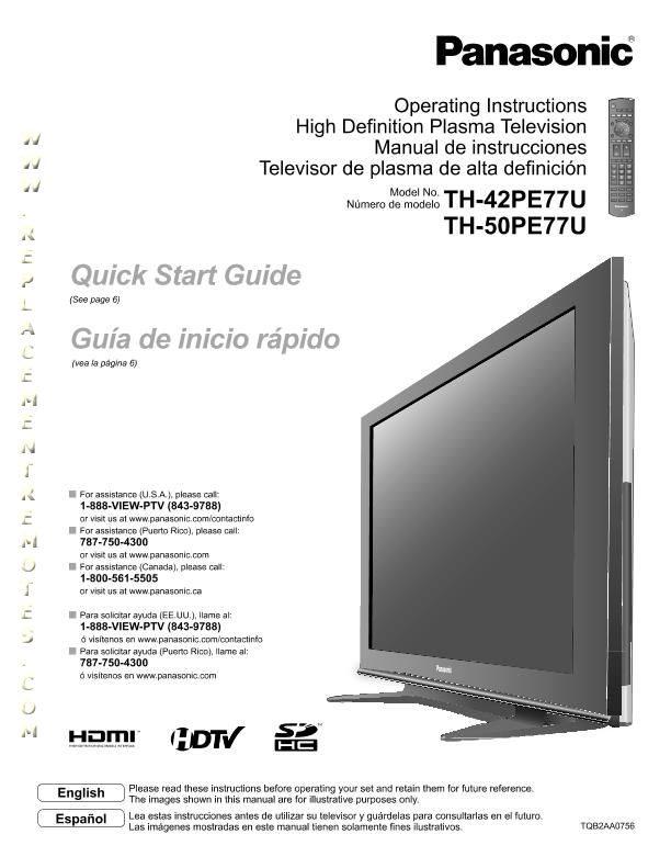 buy panasonic th42pe77uom dvp3560k f8 ltv32w3 th42pe77u operating manual rh replacementremotes com manual tv plasma panasonic viera 42 Old Panasonic Plasma TV