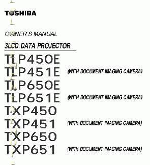 TOSHIBA TLP450EOM Operating Manual