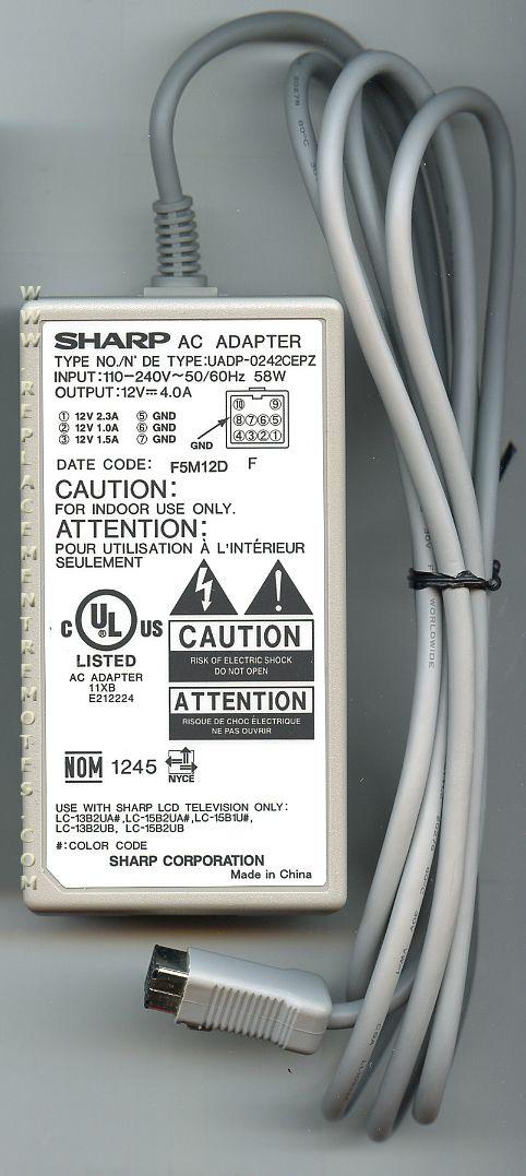SHARP UADP0242CEPZ AC Power Cord