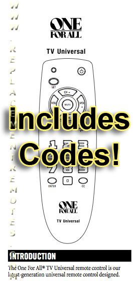 Download FREE ONE-FOR-ALL URC1050 & Codes URC1050 Operating Manual