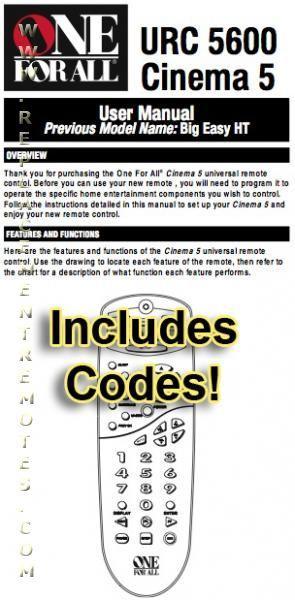 URC5600 & Codes